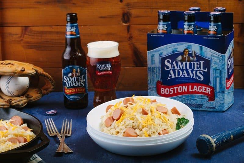 Ballpark Risotto With Samuel Adams Boston Lager, Hotdogs, Sauerkraut And Shredded Jack Cheese
